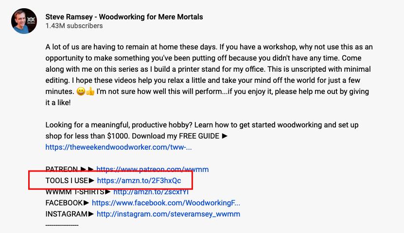 Exemple de marketing d'affiliation sur YouTube